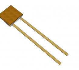 Pt temperature sensor with flat Au-coated Ni-wire (3FW) and metallized backside (M)